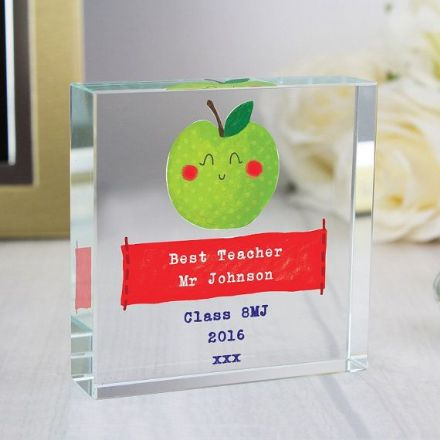 Personalised Happy Apple Large Crystal Token
